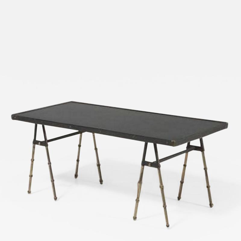 Jacques Adnet Mid Century Modern stitched leather and brass coffee table by Jacques Adnet