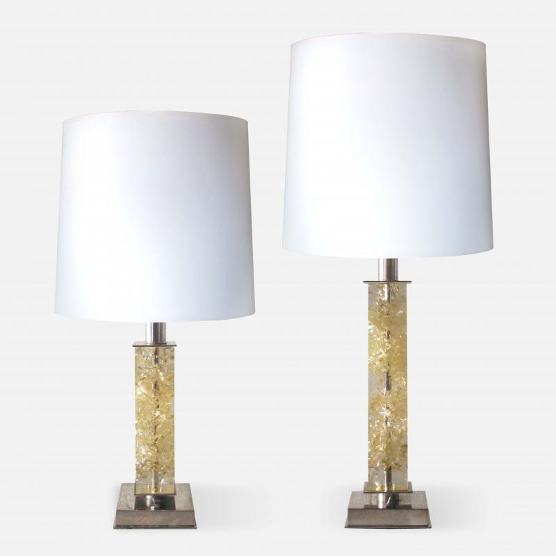 Jacques Adnet Nickel and Fractal Resin Lamps