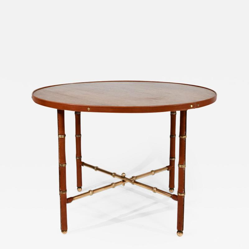 Jacques Adnet Occasional table in stitched leather