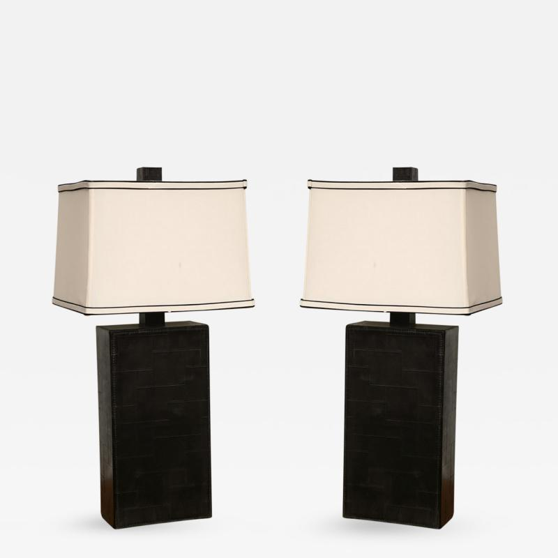Jacques Adnet Pair of Black Leather Table Lamps in the Style of Adnet