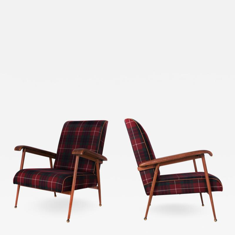 Jacques Adnet Pair of Fabric and Leather Armchairs