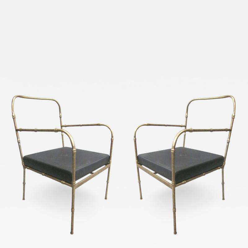 Jacques Adnet Pair of French Mid Century Modern Faux Bamboo Armchairs Style Jacques Adnet