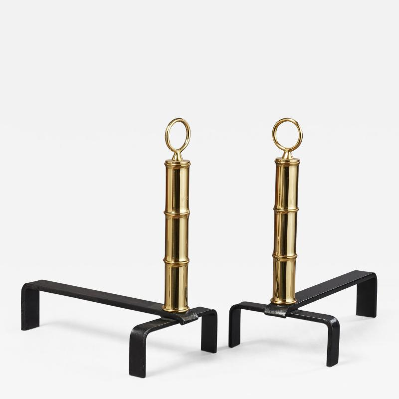 Jacques Adnet Pair of Jacques Adnet Brass Andirons France 1950s