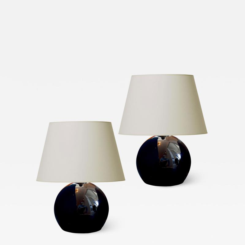 Jacques Adnet Pair of Large Black Opaline Glass Lamps by Jacques Adnet
