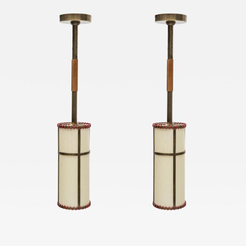 Jacques Adnet Pair of Stitched Leather pendants by Jacques Adnet