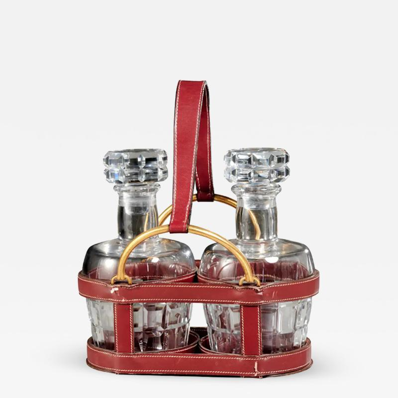 Jacques Adnet RARE RED STITCHED LEATHER EQUESTRIAN DECANTER SET BY JACQUES ADNET FOR HERMES