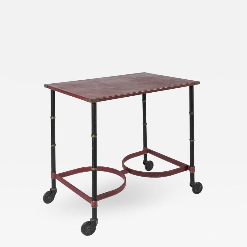 Jacques Adnet Rare Willing table in Stitched leather By Jacques Adnet