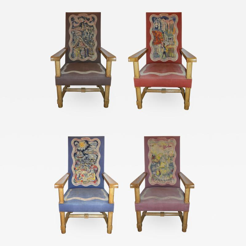 Jacques Adnet Rare and Important Set of Four Jacques Adnet Oak Upholstered Chairs 1940s