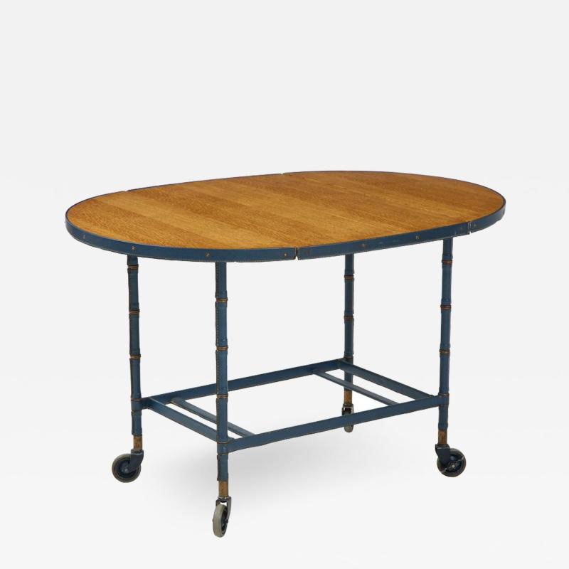 Jacques Adnet Rare oak and blue stitched leather drop leaf table bar cart by Jacques Adnet