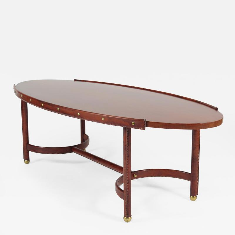 Jacques Adnet Rare oval coffee table