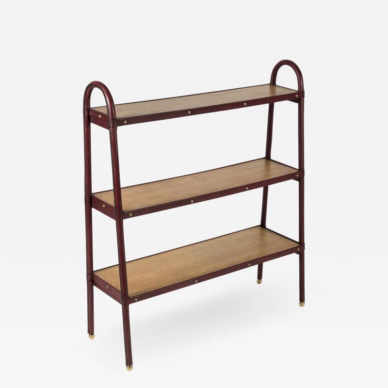 Jacques Adnet Stitched Leather Book Case by Jacques Adnet