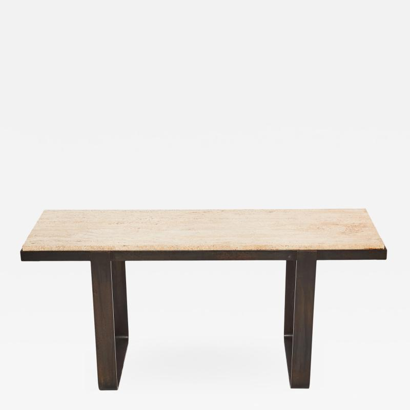 Jacques Adnet Vintage Darkened Iron Table with Travertine Top