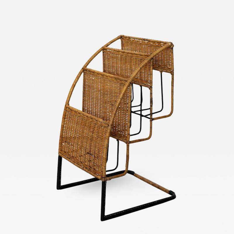 Jacques Adnet WICKER MAGAZINE RACK ATTRIBUTED TO JACQUES ADNET