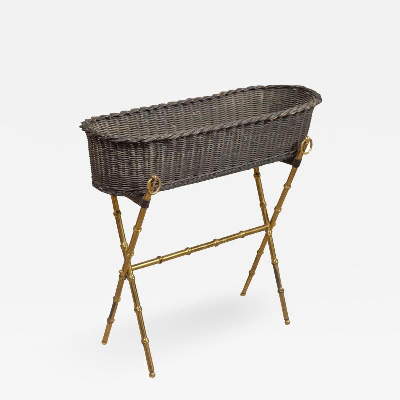 Jacques Adnet Wicker Planter with Gilt Brass Bamboo Base