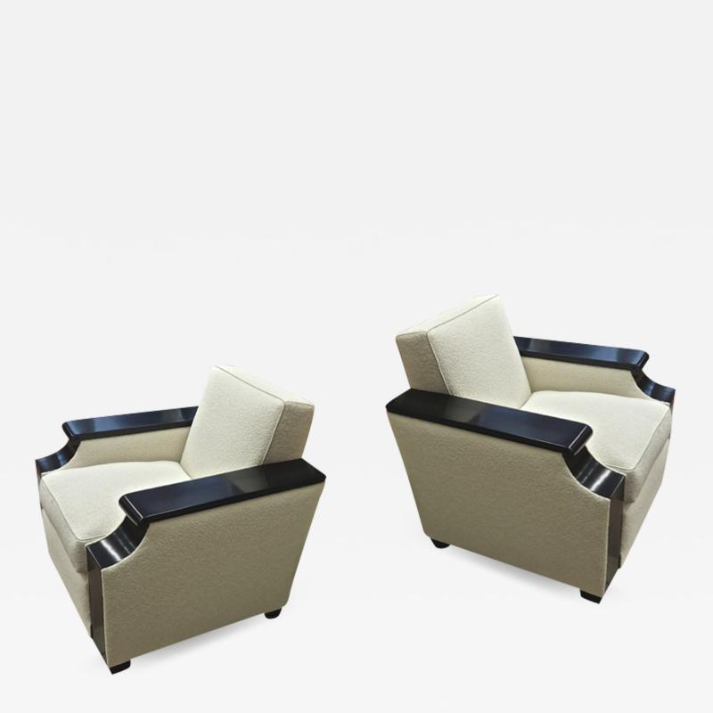 Jacques Adnet rarest documented comfy pair of club chairs fully restored