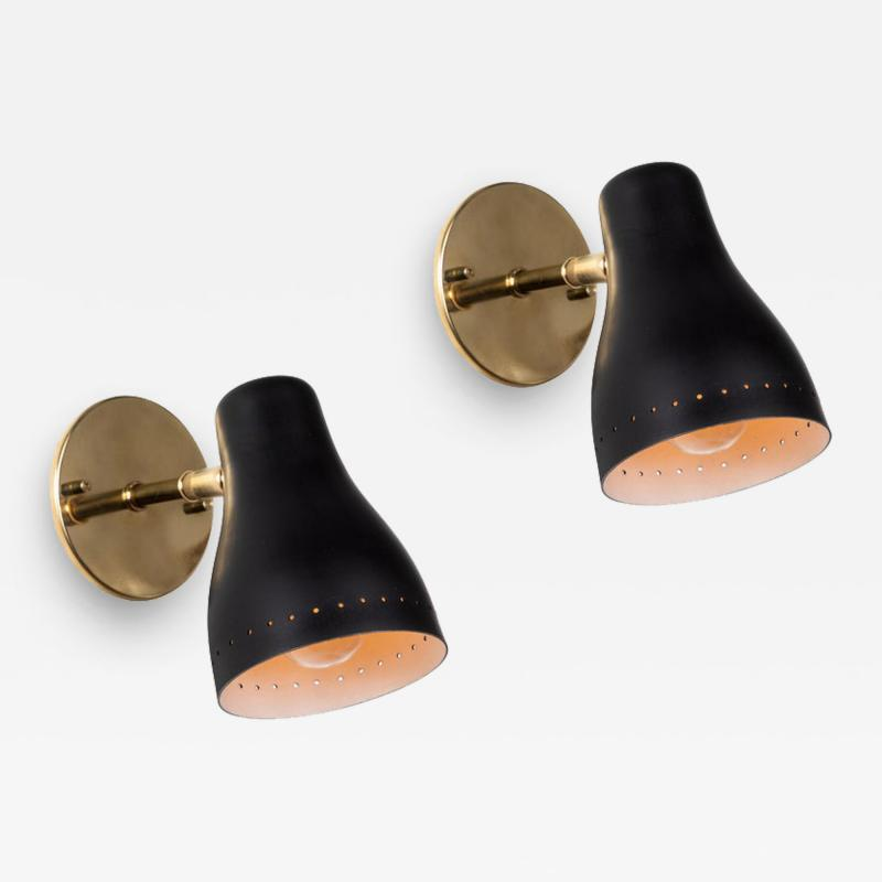Jacques Biny Pair of 1950s Black Perforated Sconces Attributed to Jacques Biny