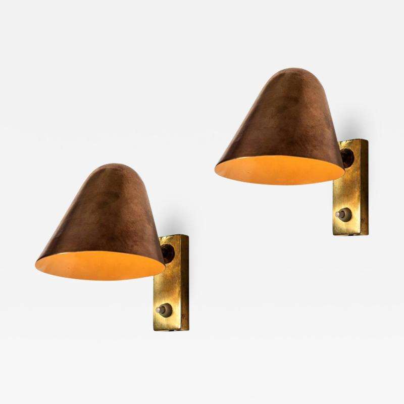 Jacques Biny Pair of 1960s Jacques Biny Brass and Copper Wall Lights