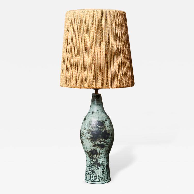 Jacques Blin Jacques Blin Ceramic Table Lamp with Rope Shade