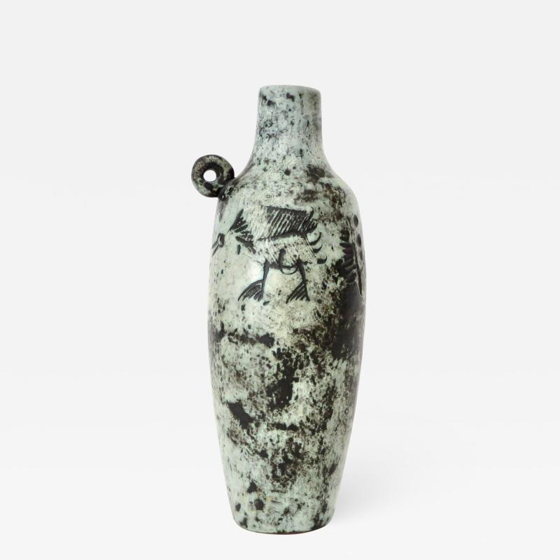 Jacques Blin Jacques Blin French Ceramic Artist Light Blue Bottle with Mini Handle Circa 1960