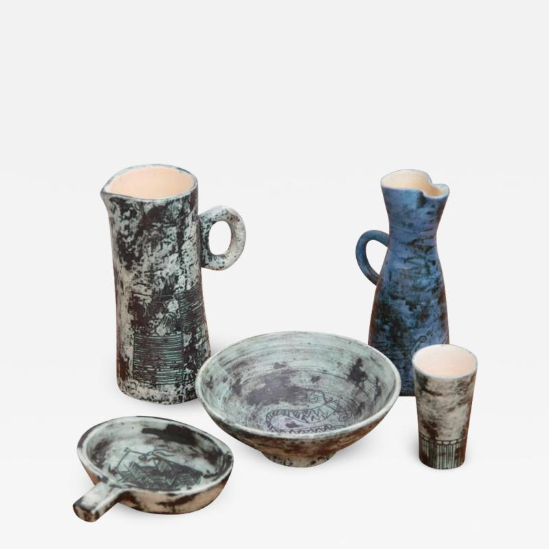 Jacques Blin Set of Five Ceramic Pcs by Jacques Blin France 1950s