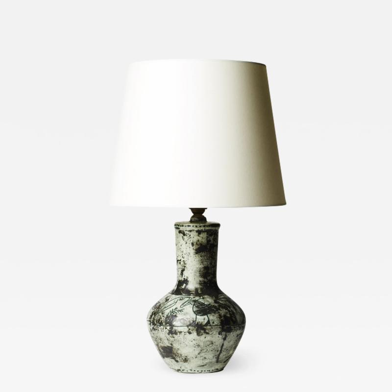 Jacques Blin Table Lamp with Sgraffito Pelicans by Jacques Blin