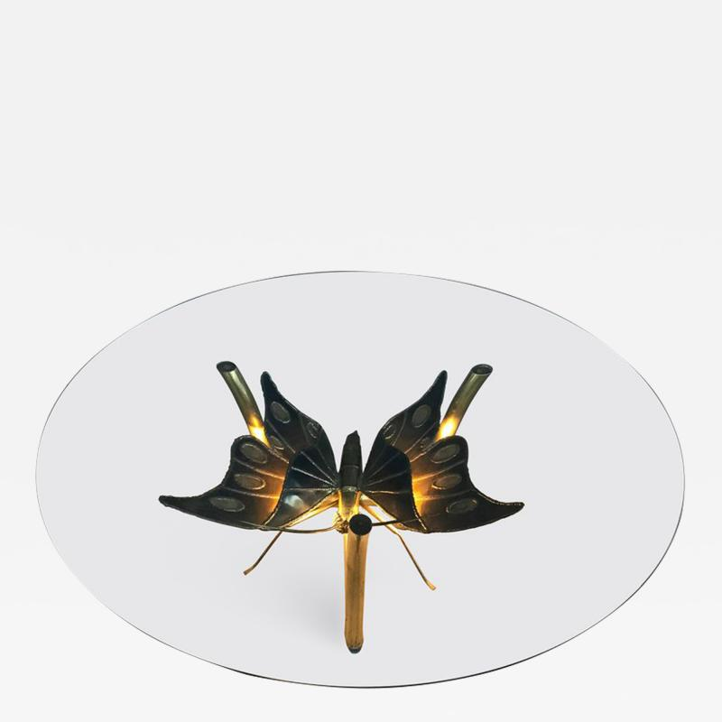 Jacques Duval Brasseur Brass Butterfly Coffee Table Attributed to Jacques Duval Brasseur
