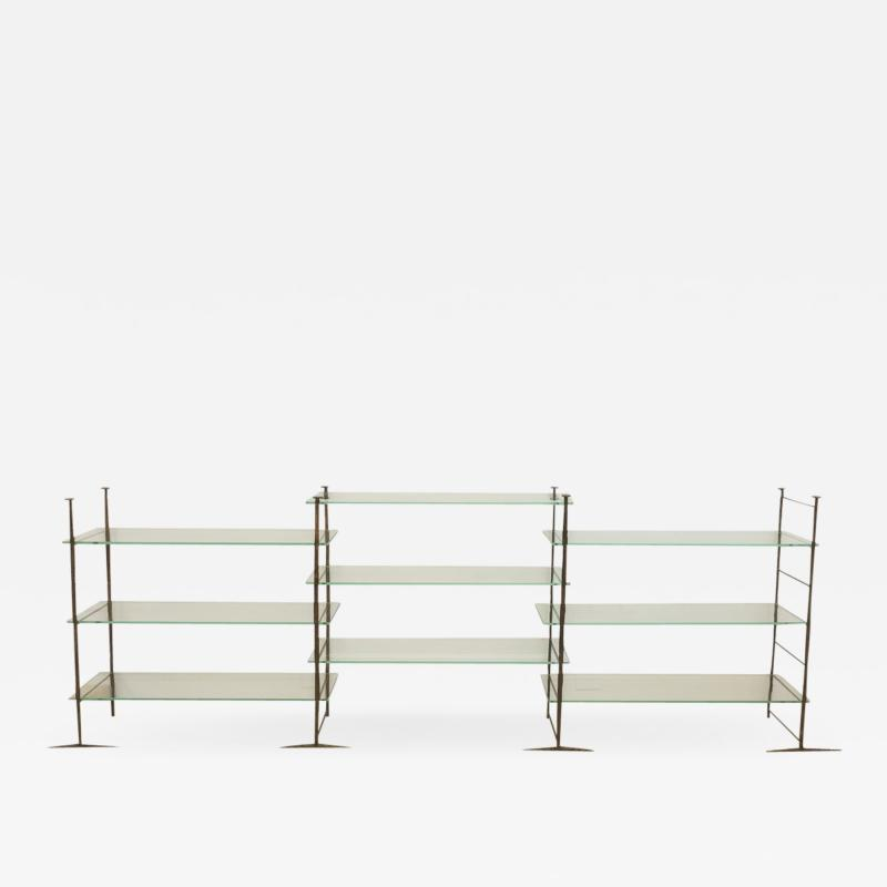 Jacques Duval Brasseur Bronze Etagere with Glass Shelves