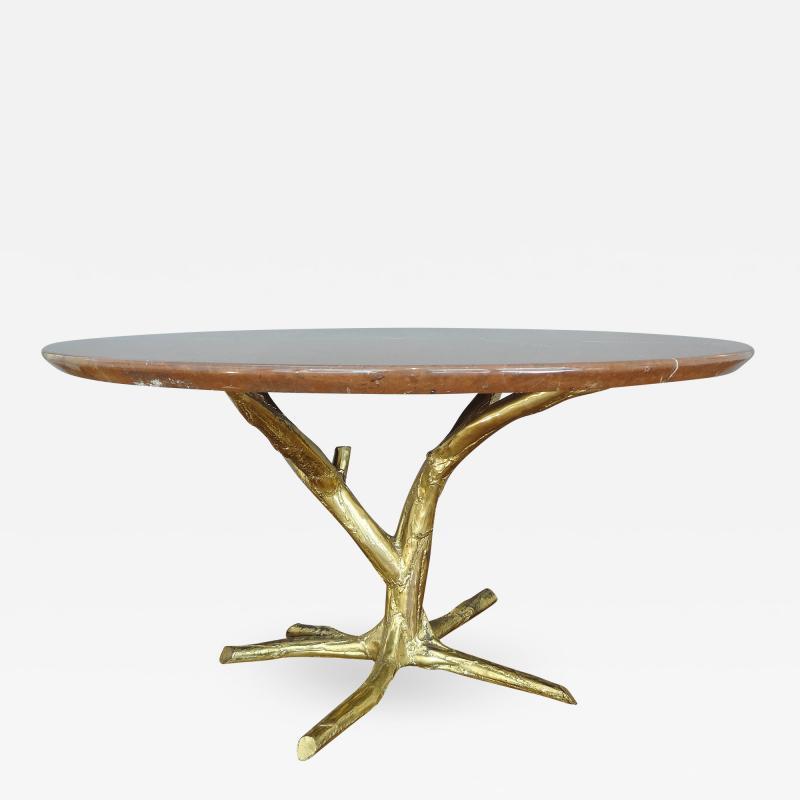 Jacques Duval Brasseur Important circular table by J Duval Brasseur 1980