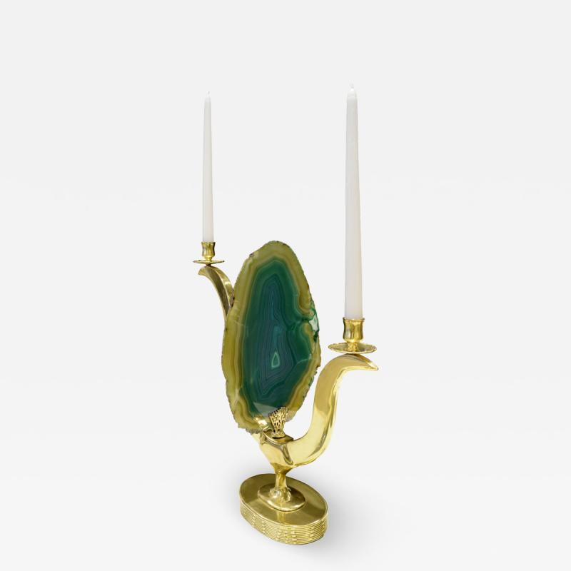 Jacques Duval Brasseur Jacques Duval Brasseur Candelabrum In Brass With Exotic Onyx 1970s Signed