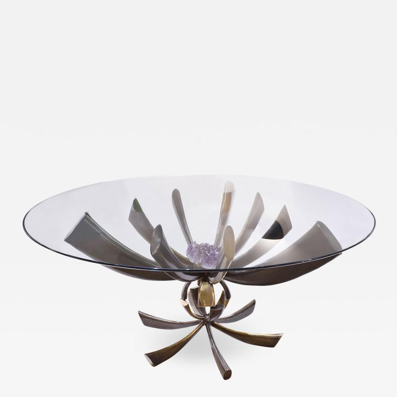 Jacques Duval Brasseur Jacques Duval Brasseur Rare Table In Bronze With Mounted Amethyst 1970s Signed