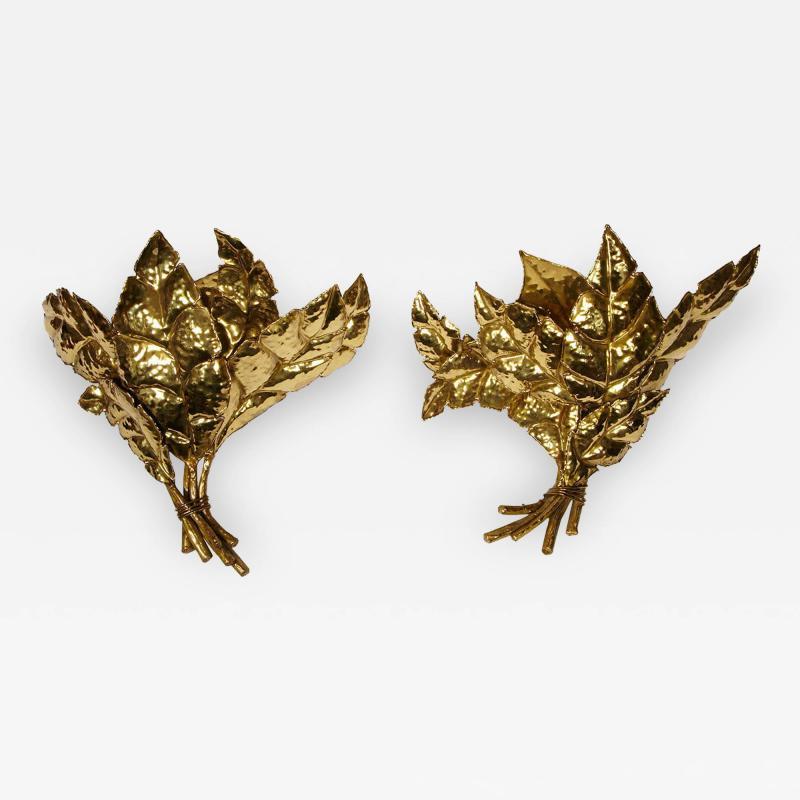 Jacques Duval Brasseur Pair of leaf sconces by Jacques Duval Brasseur