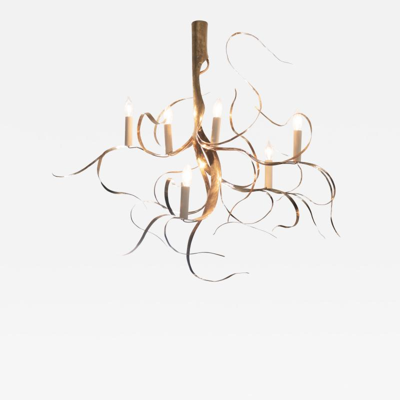 Jacques Jarrige 7 Light Chandelier in Brass Fiori