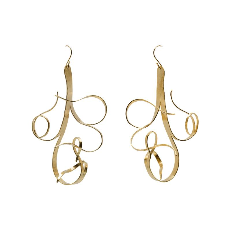 Jacques Jarrige Gold Plated Earrings by Sculptor Jacques Jarrige Fiori