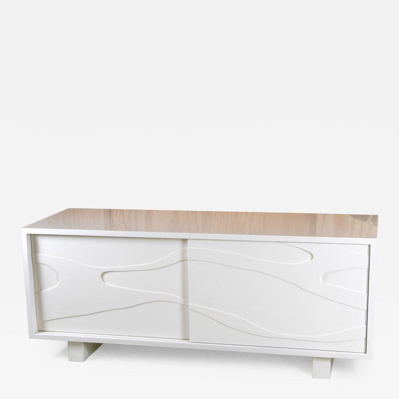 Jacques Jarrige Lacquered Sculpted Cabinet with Sliding Doors by Jacques Jarrige