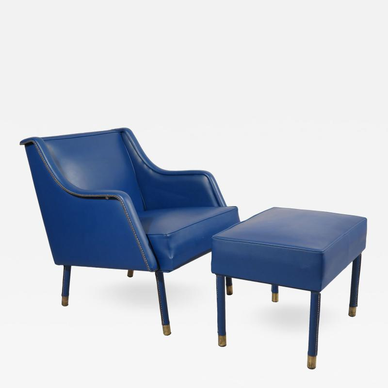 Jacques Quinet Armchair Footstool in Blue Stitched Moleskin by Jacques Quinet