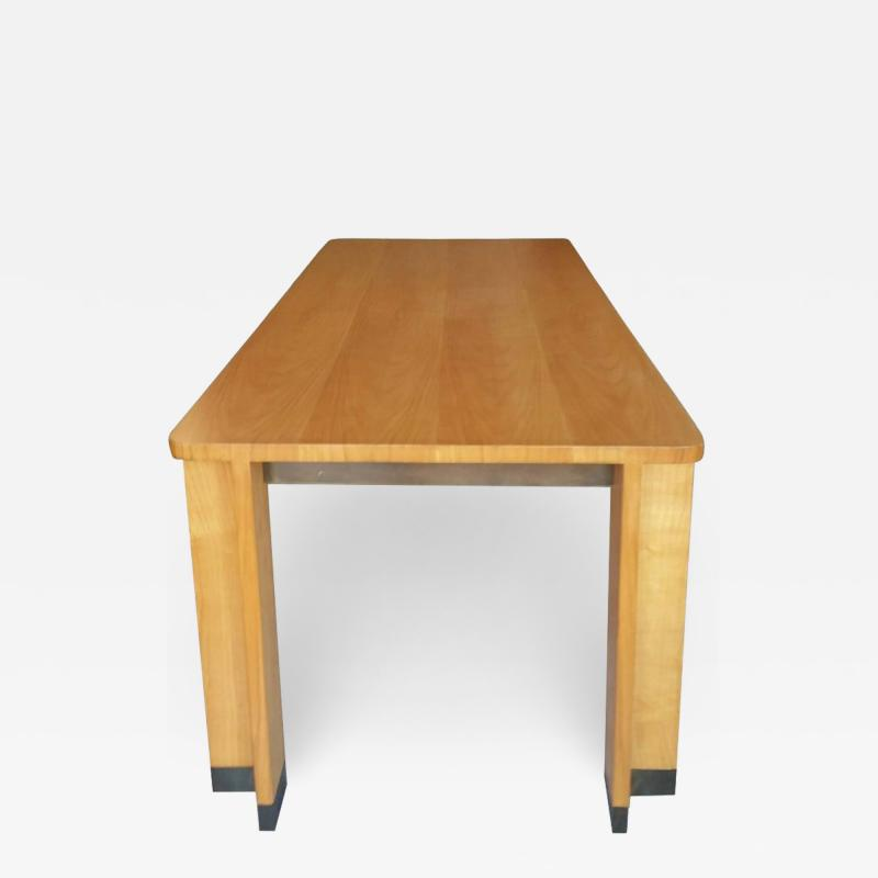 Jacques Quinet Cherrywood Dining Table with Bronze Accent Feet