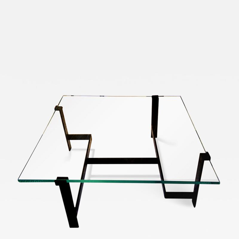 Jacques Quinet Coffee Table Model No 15254 with Minimalist Iron Frame by Jacques Quinet