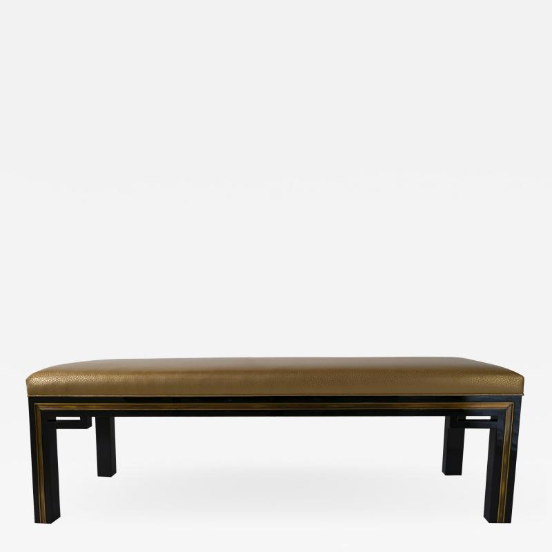 Jacques Quinet French Modern Black Lacquer Bench