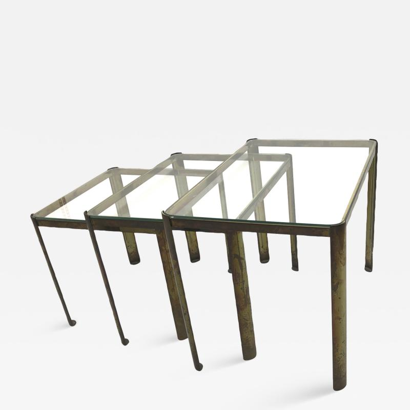 Jacques Quinet Jacques Quinet Bronze and Glass 3 nesting table set