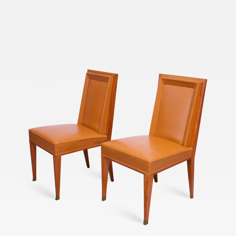 Jacques Quinet Pair of Jacques Quinet Occasional Chairs in Leather and Mahogany