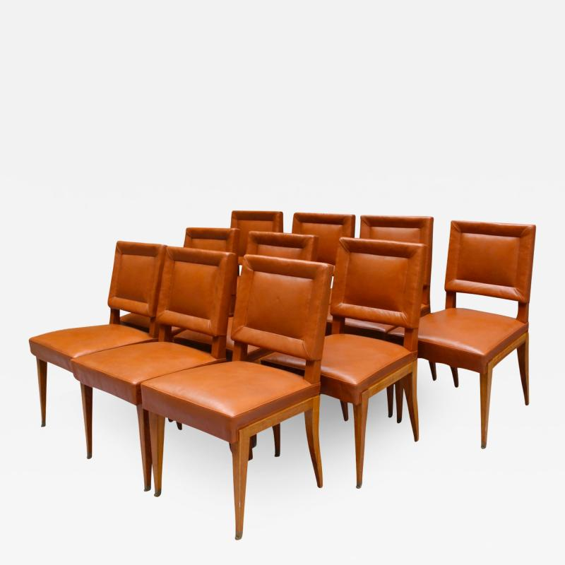 Jacques Quinet Rare Set of 10 Leather and Mahogany Chairs by Jacques Quinet