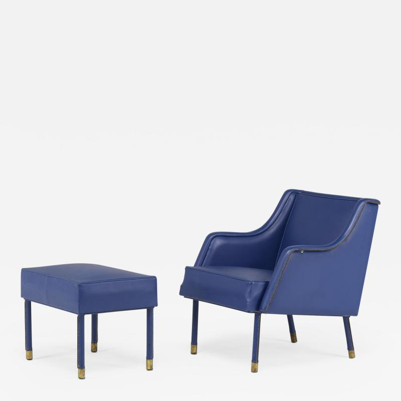 Jacques Quinet stylish armchair Footstool in Blue Stitched Moleskin