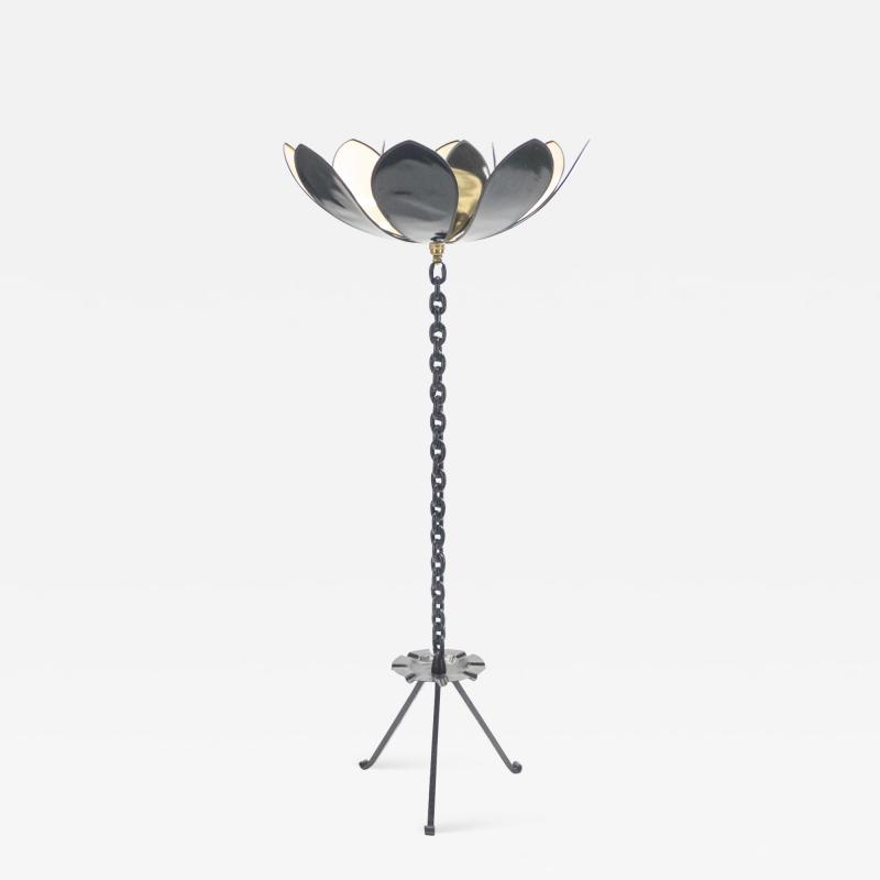Jacques Vidal Signed Jacques Vidal French Mid Century Iron gold floor lamp 1967