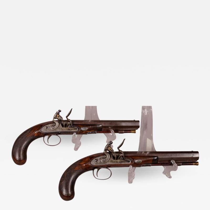 James Collins Cased Pair Flintlock Target Dueling Pistols by Collins of London