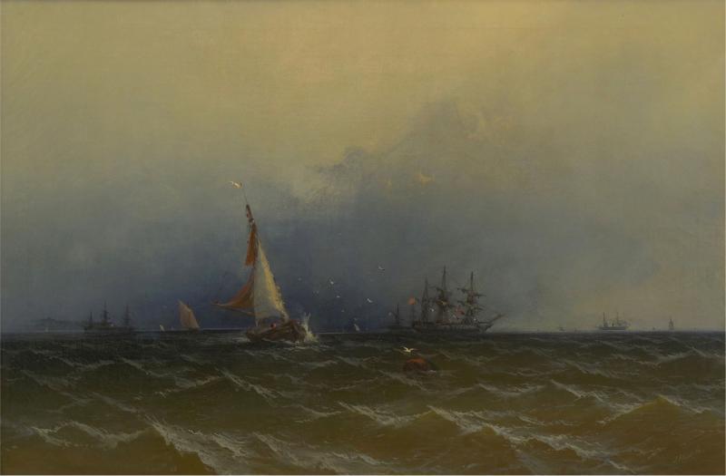 James Hamilton Channel Scenery 1864 Marine Seascape Nautical Painting by James Hamilton