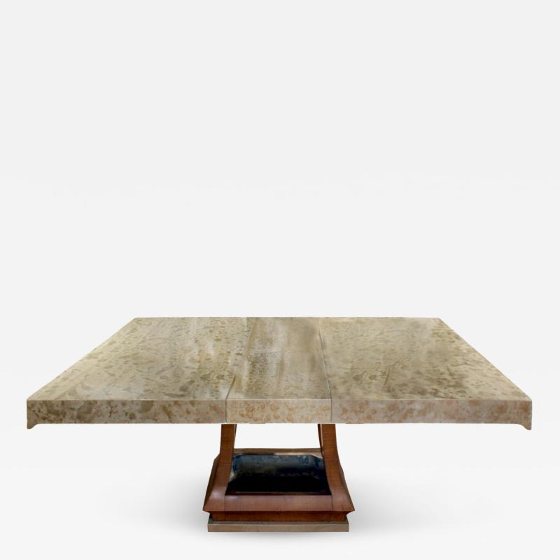 James Mont James Mont Asian Style Dining Table with Custom Oil Lacquer Finish 1940s