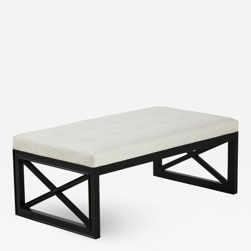 James Mont James Mont Lattice Frame Upholstered Bench