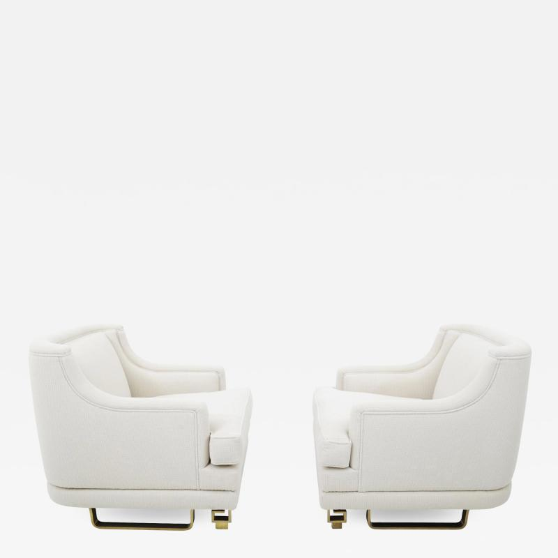 James Mont James Mont Lounge Chairs on Brass Bases