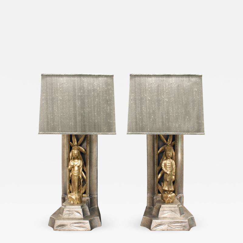James Mont James Mont Pair of Hand Carved Table Lamps 1950s