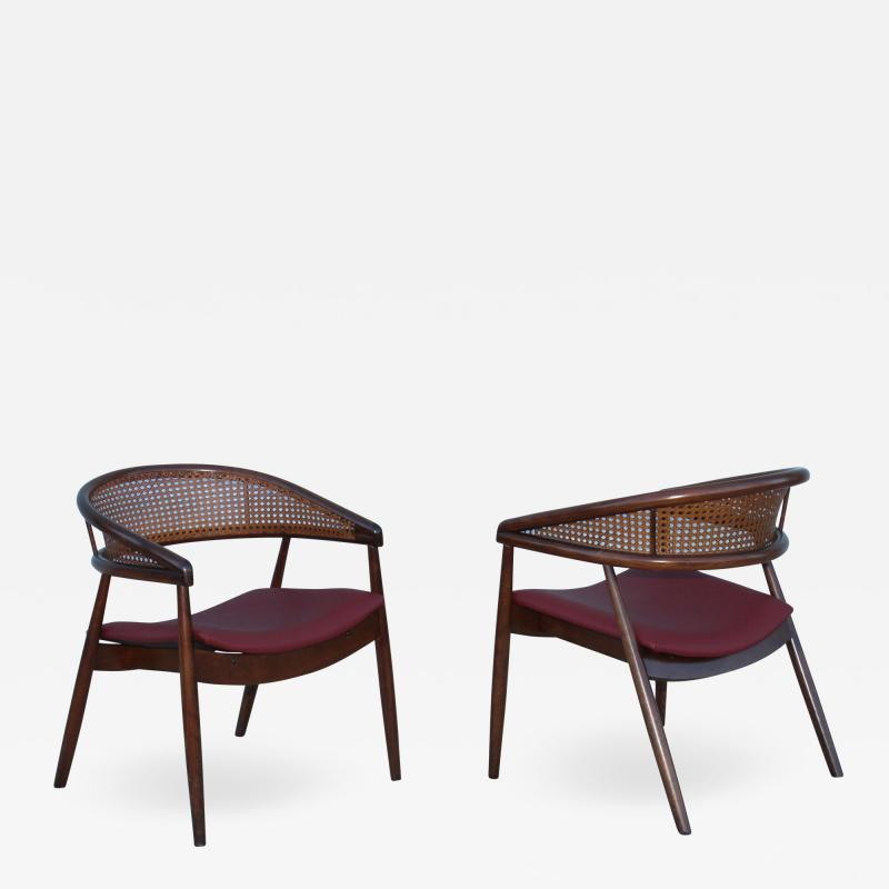 James Mont James Mont Style Bent Beech And Leather Armchairs